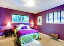 Bed with green and purple covers