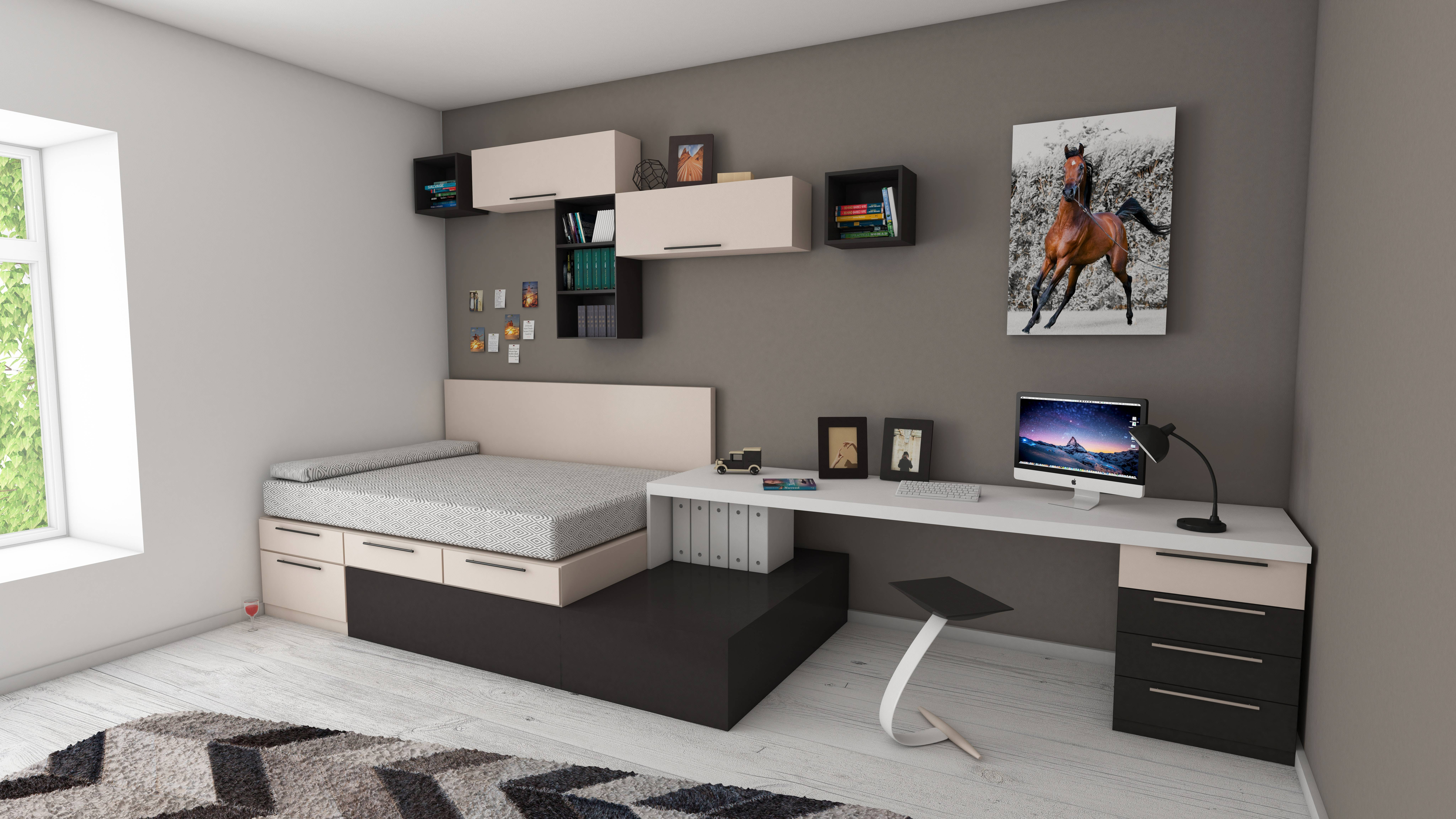 Bedroom with horse painting