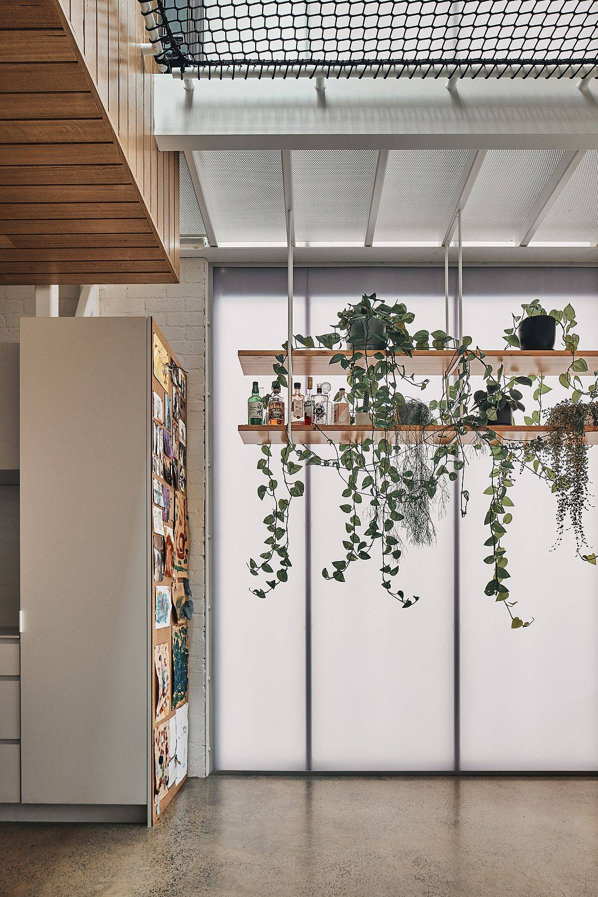 Bespoke hanging wooden shelves in the living room with greenery