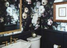 Black bathroom interior with floral wall paper