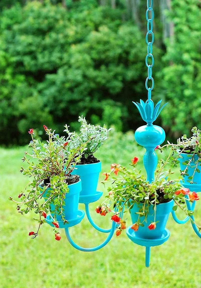 Blue plant chandelier