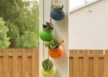 Colorful outdoor ceramic planters