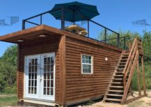 Container house with roof deck