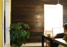 Dark Stained Shiplap Wall.