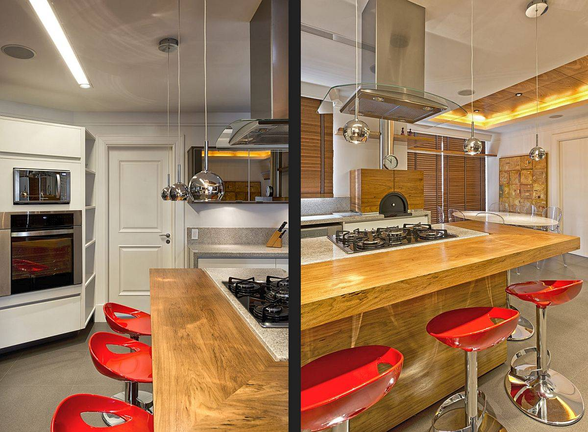 Dashing-wooden-breakfast-bar-for-the-modern-kitchen-with-bright-red-bar-stools-54729