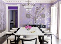 Dining room with floral lavender wallpaper