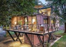 Elevated shipping container house with balcony