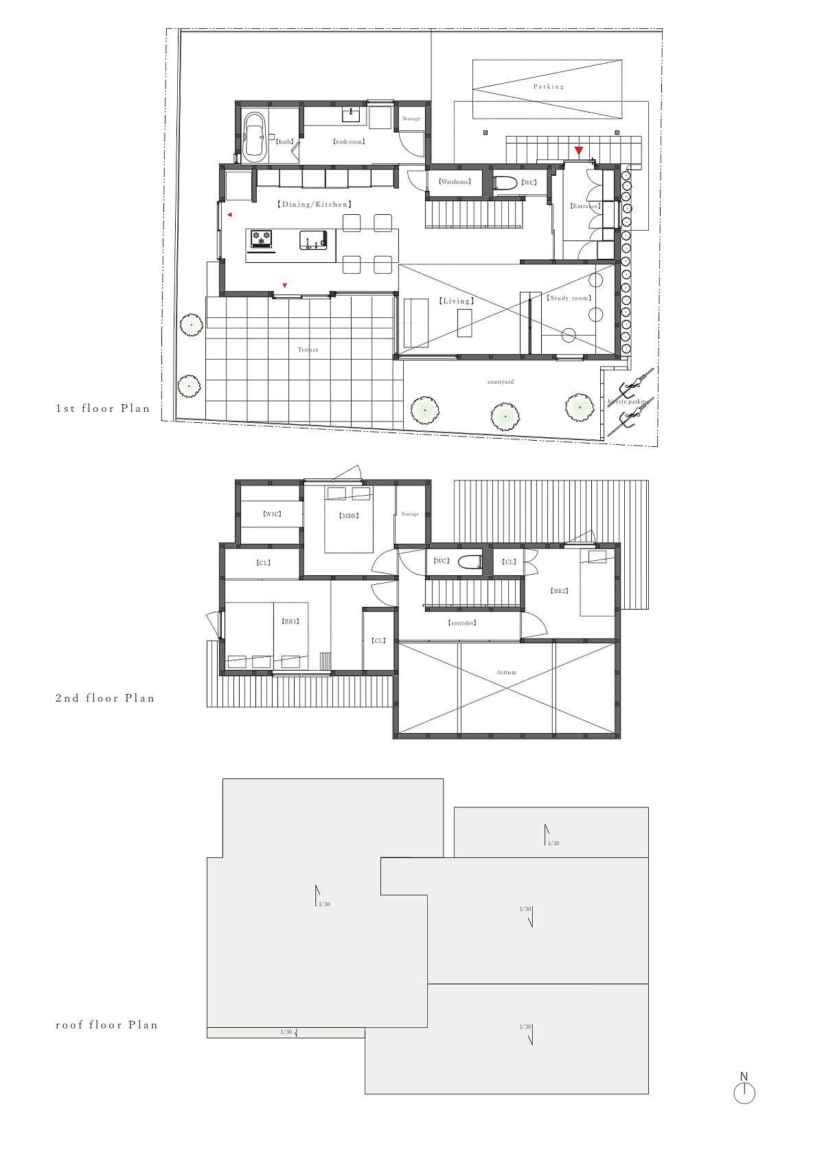 Floor-plan-of-three-different-levels-of-the-House-in-Sumiregaoka-91668