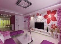 Floral wallpaper all over lavender living room