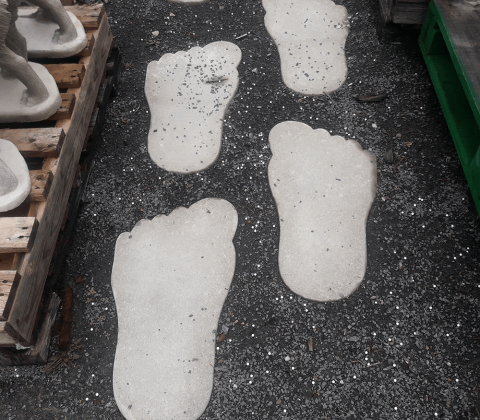 Foot Shaped Steps for Sandy Yard