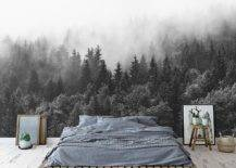 Forest art wall decal and bed with grey sheets