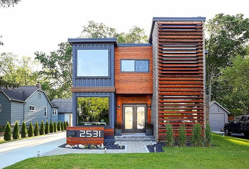 Front view of container home with pathway