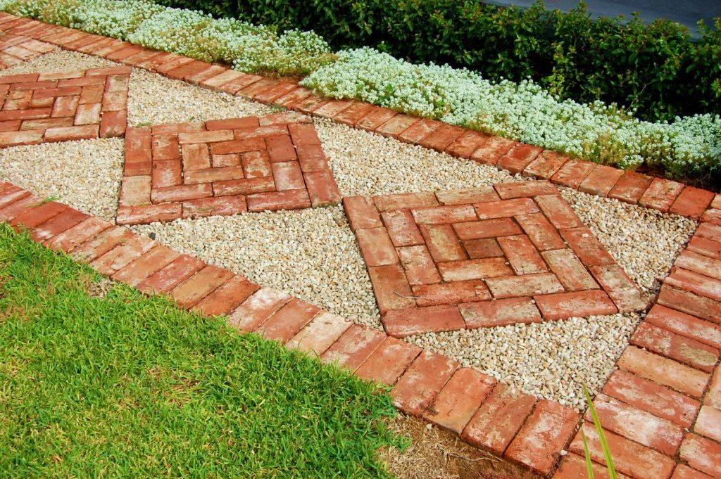 Interlocking Red Brick as Stepping Stones