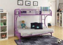 Lavender metal bunk bed with cushions and doll