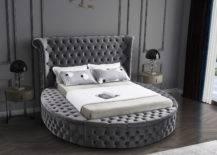 Luxurious grey round bed