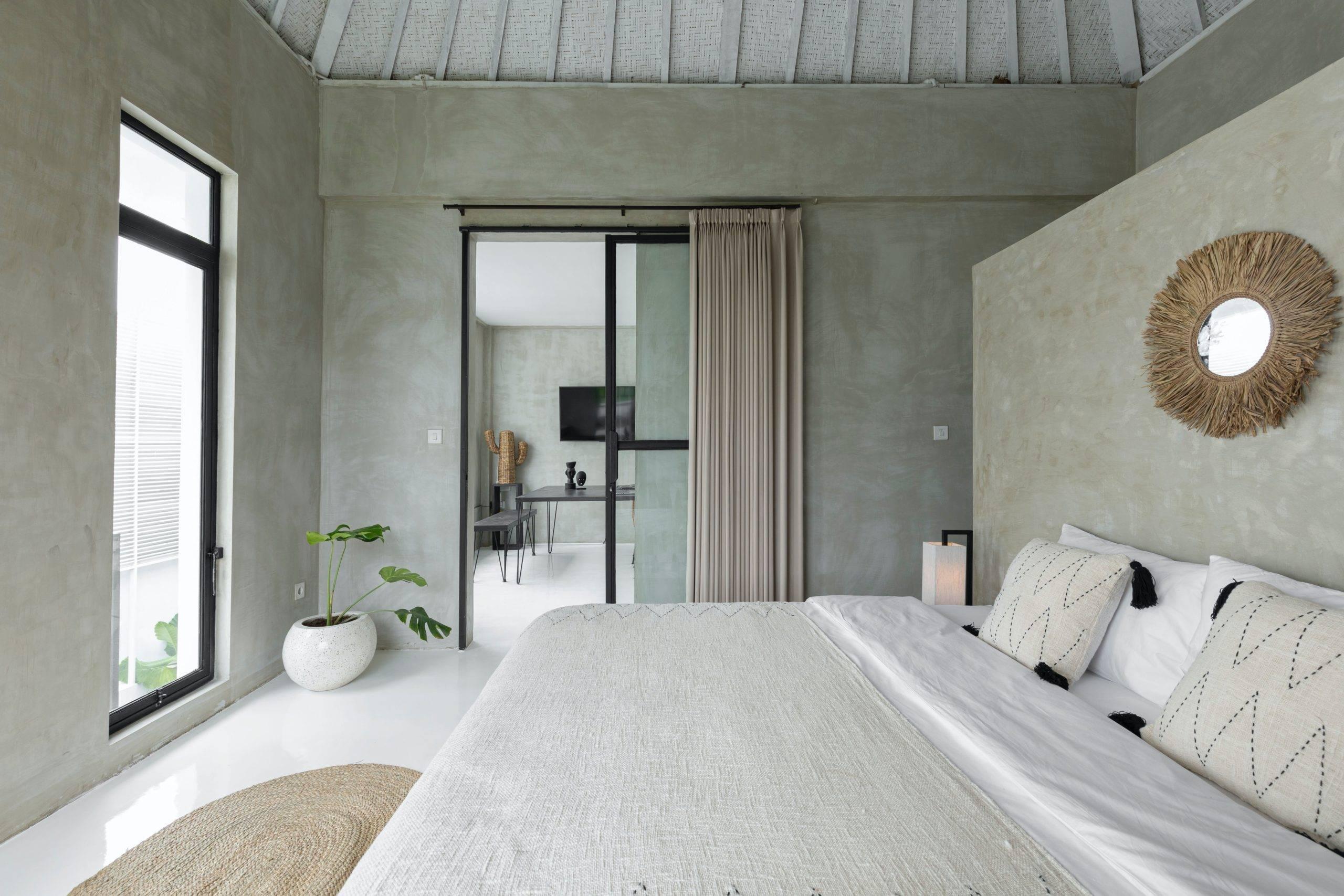 Modern bedroom in grey wall