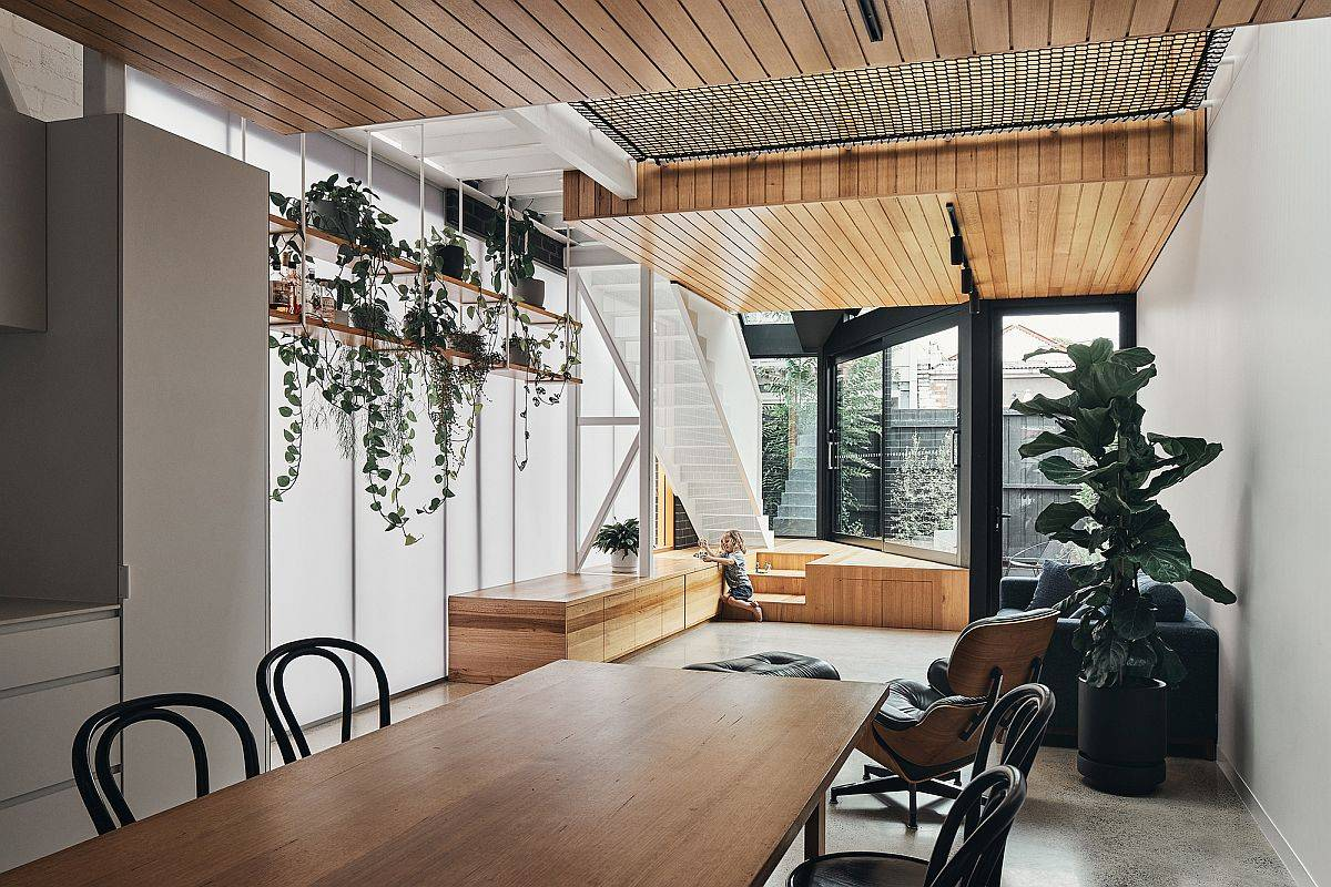 Open plan living area and dining room of the Earl Street House in Melbourne