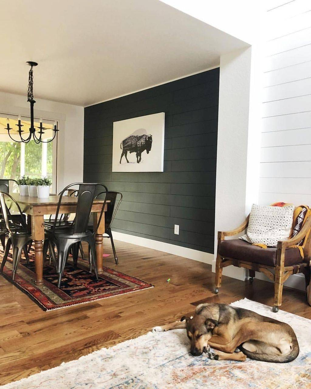 Painted Shiplap Accent Wall.