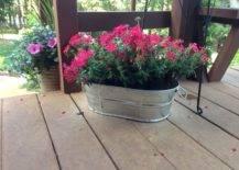 Repurposed Metal Bucket Flower Pot
