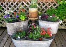 Repurposed Metal Bucket Flower Pots