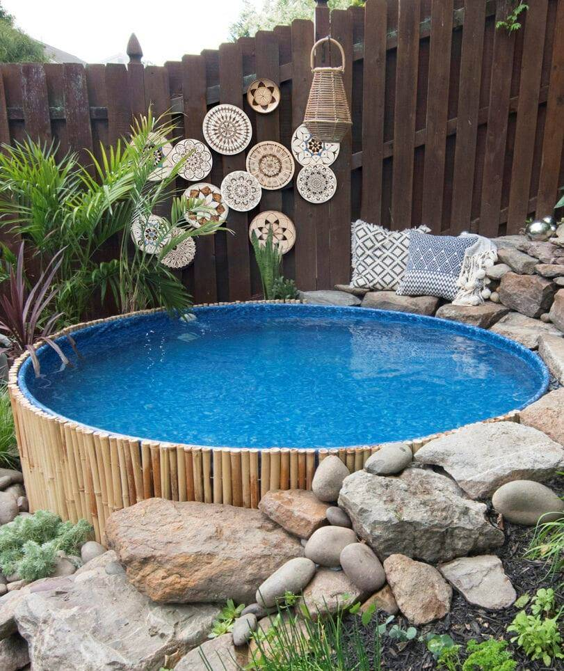 Round pool with hanging outdoor art