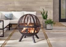 Round wood burning metal fire pit