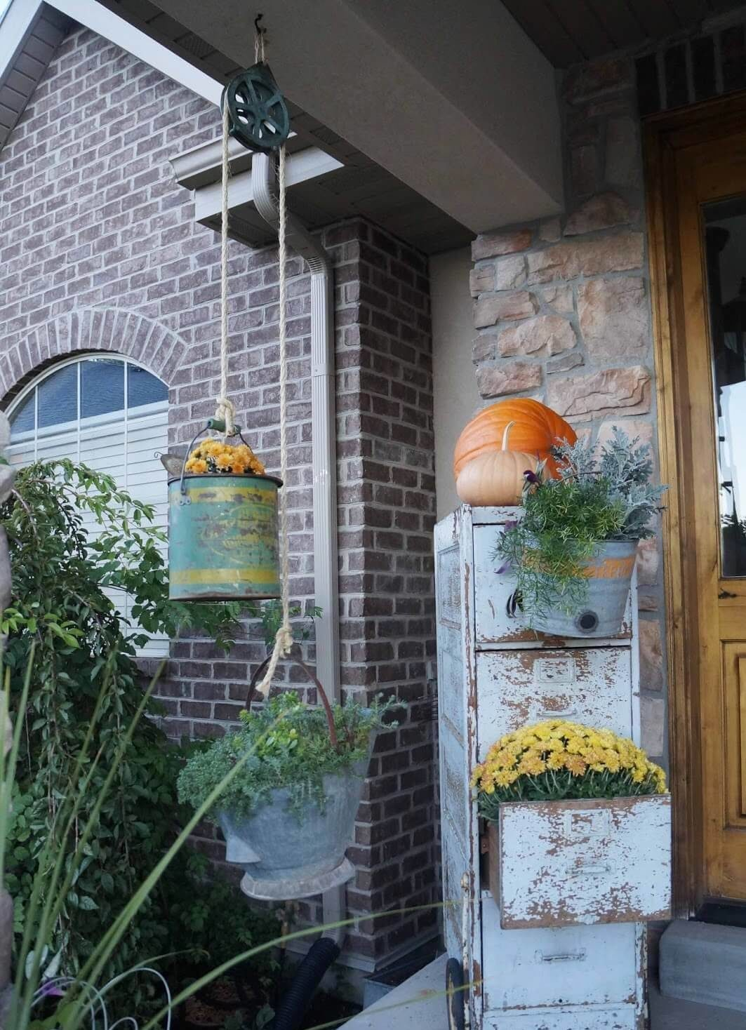 Rustic Filing Cabinet and Planter Pulley Decor