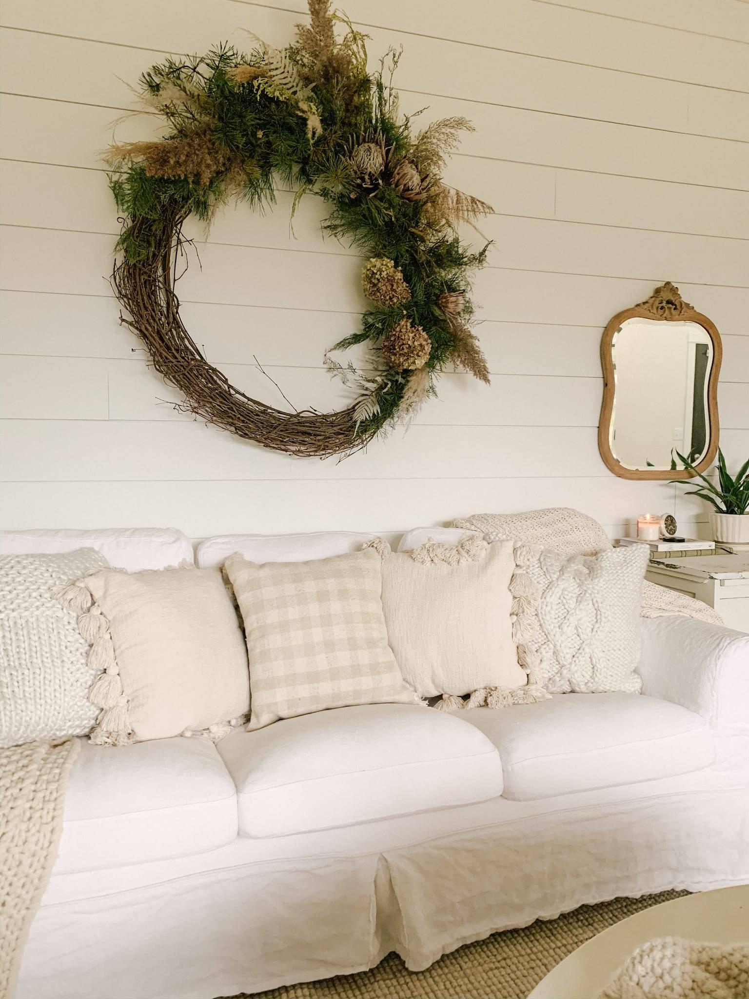Shiplap Wall with Flower Wreath