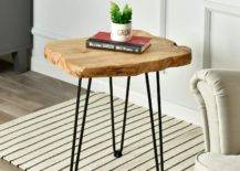 Small plant and book on wood side table