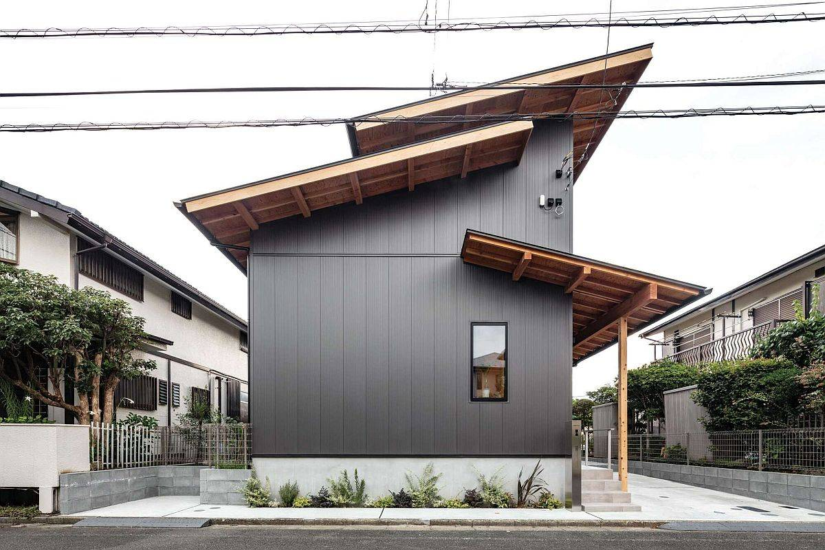 Smaller Roof Sections and Custom Dark Exterior Set this Japanese Home Apart