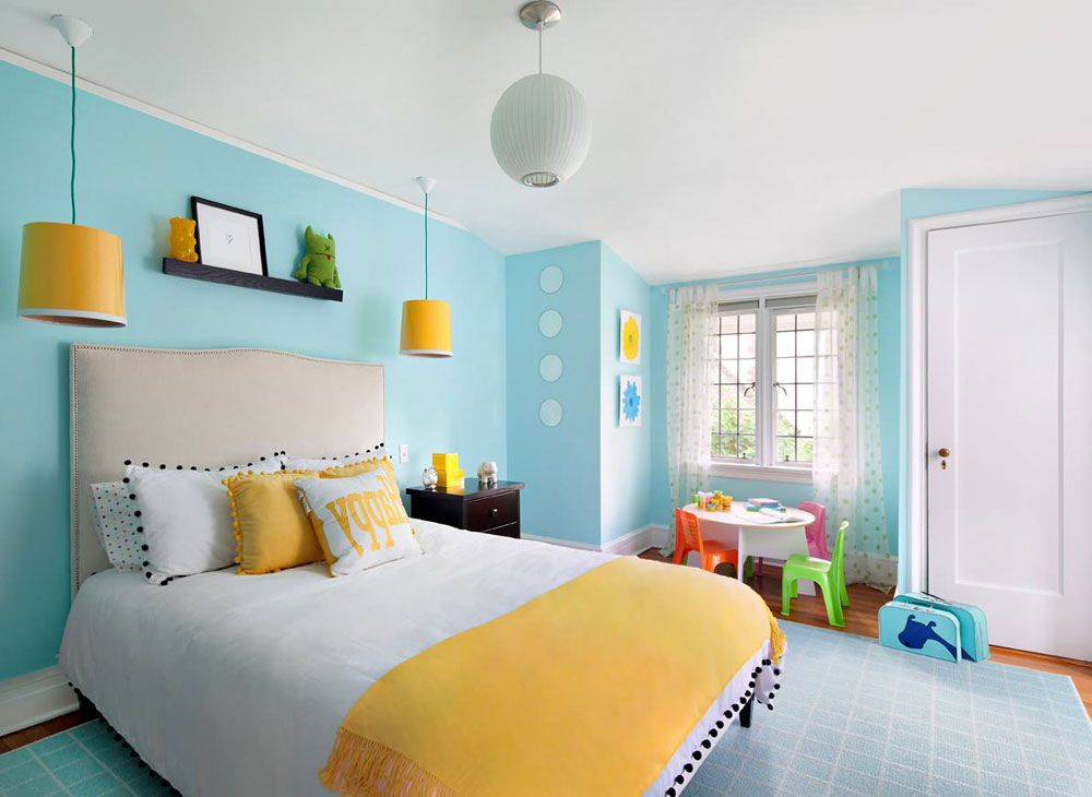 Teal and Yellow Bedroom Accessories