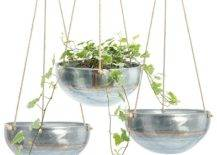 Three hanging planters with green plants