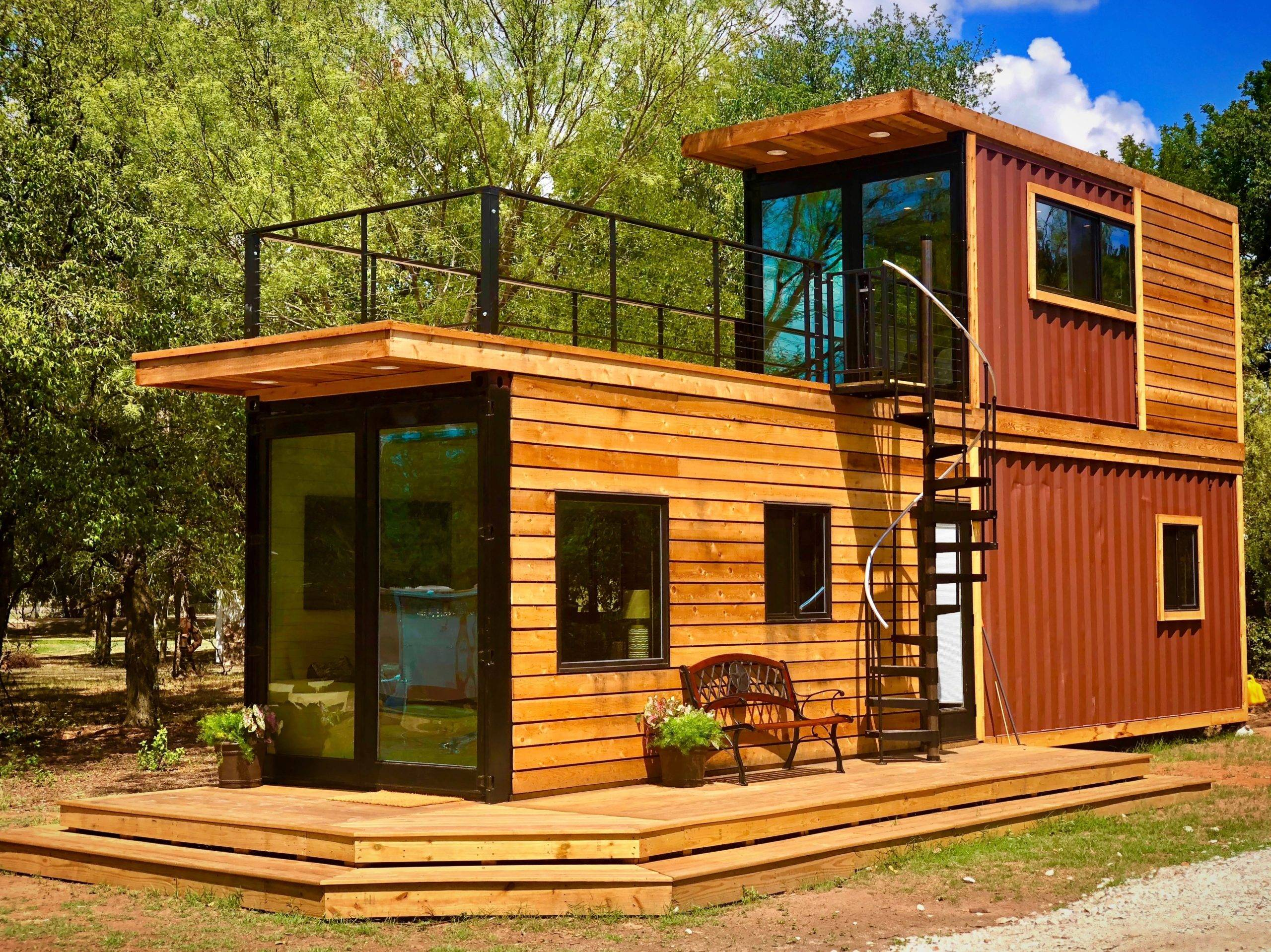 Two-story container house with spiral staircase