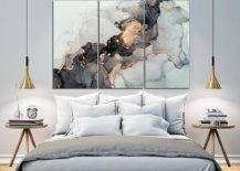 Unreal beautiful black and gold marble wall art