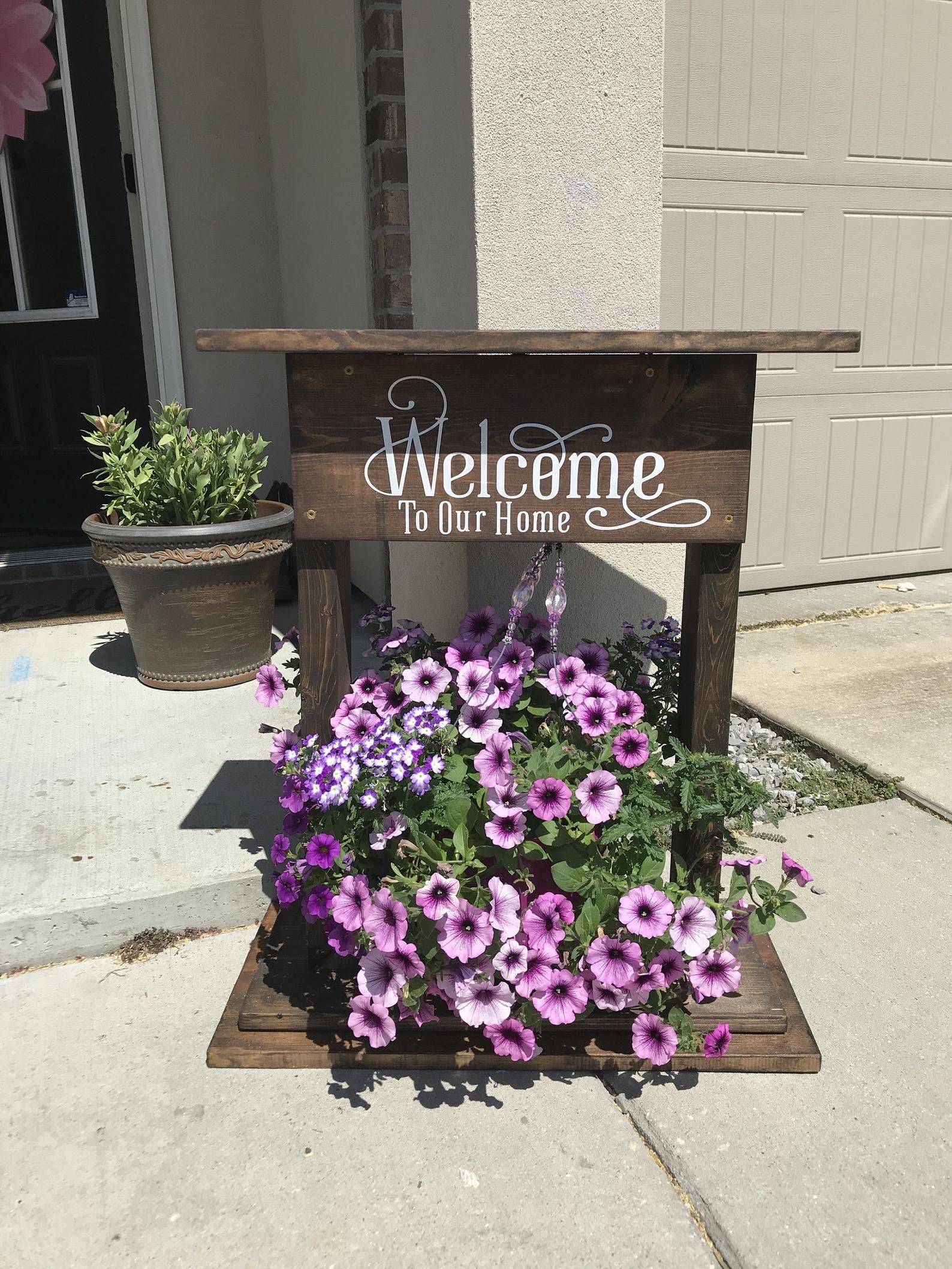 Wooden Welcome Sign and Planter