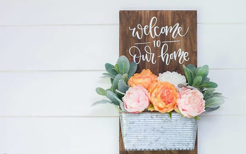 Wooden Welcome Sign with Planter