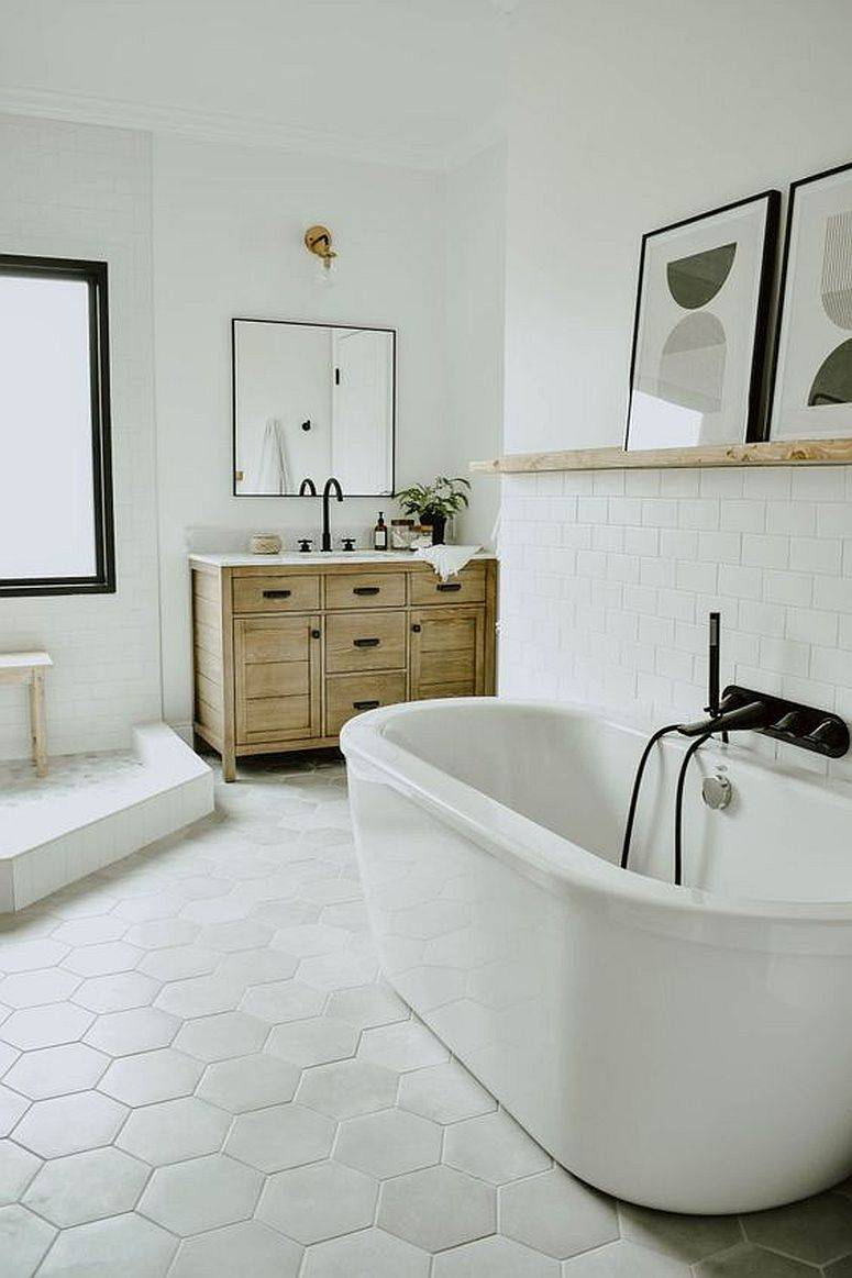 Wooden-vaniy-and-floating-wooden-shelf-is-perfect-for-this-relaxing-modern-white-bathroom-52935