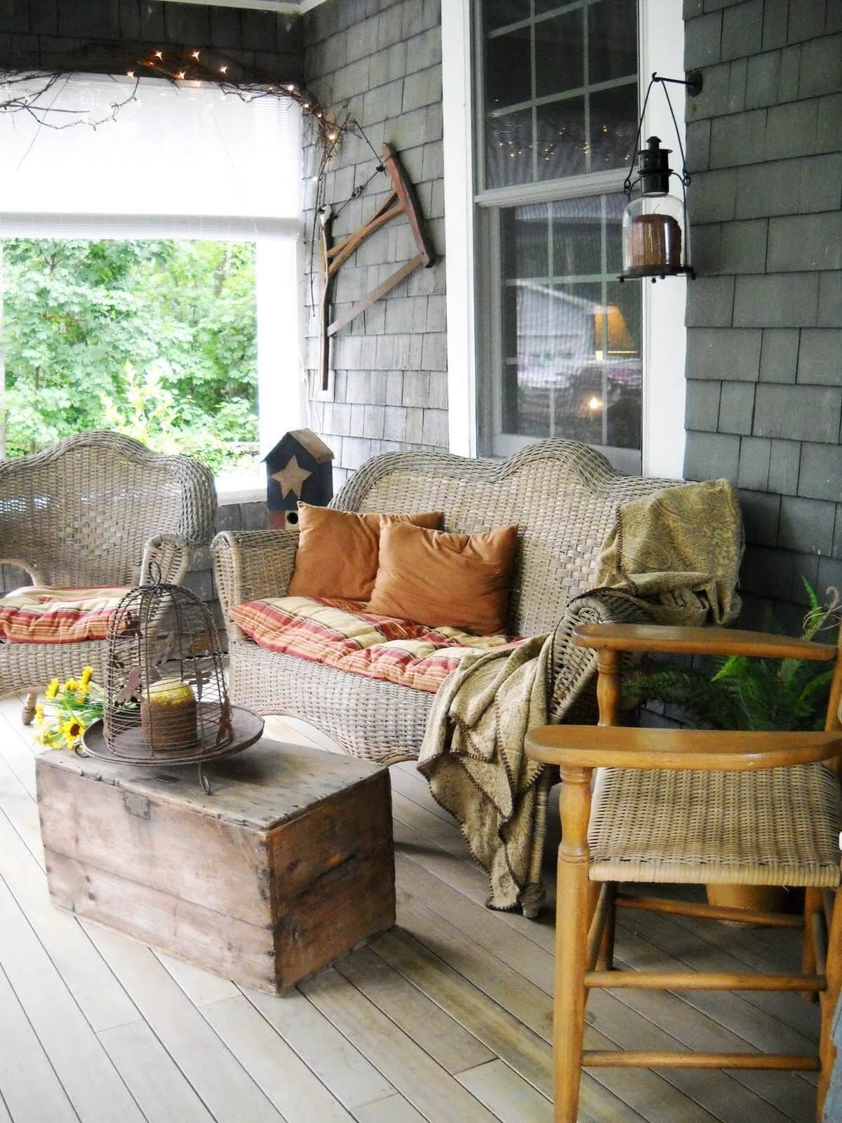Woven Porch Furnishing and Crate Table