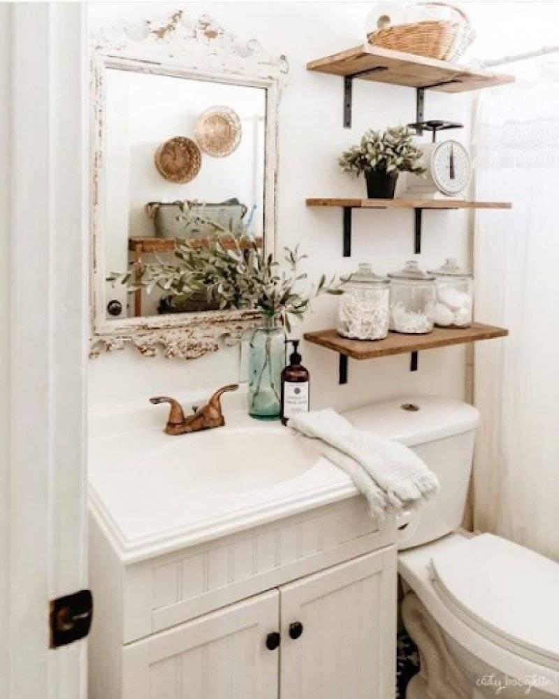 Open Shelves Above Toilet in Bathroom