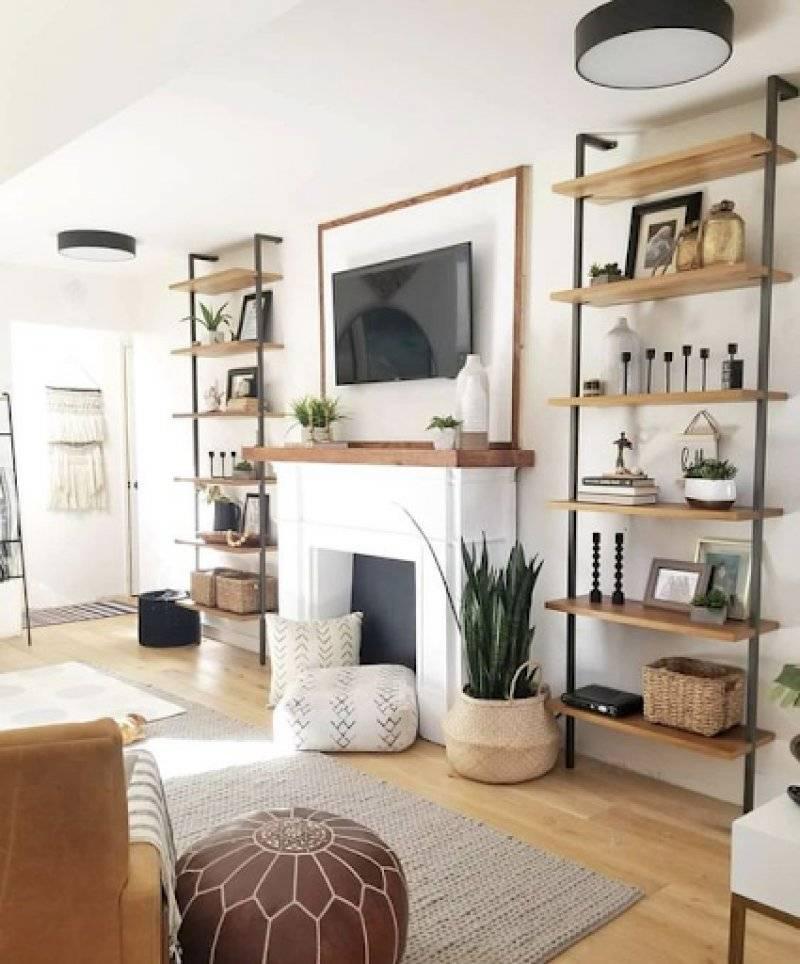 Rustic Open Shelves in Living Room