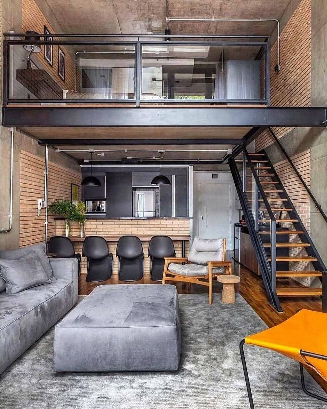 modern loft apartment with black metal accents