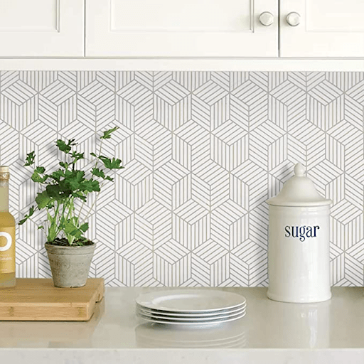White and Silver Contact Paper Backsplash