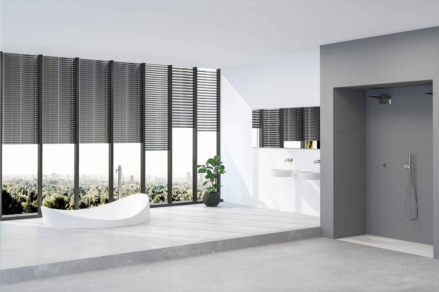 Asymmetrical Sunken Bathtub.