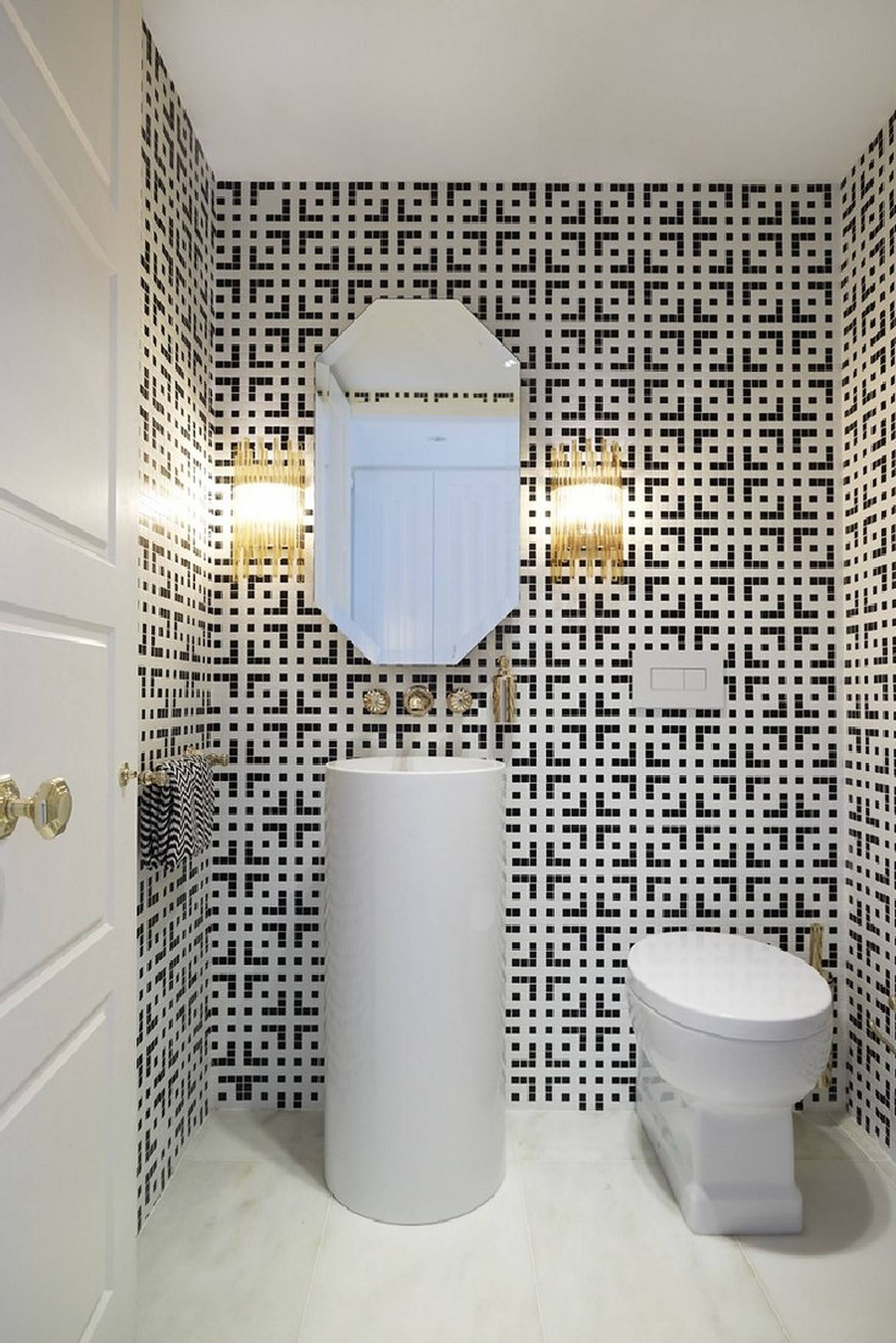 Bathroom with black and white wall tiles
