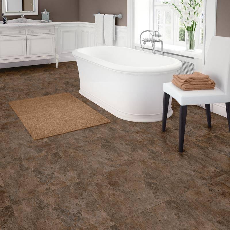Bathroom with brown flooring