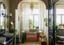 Bathroom with brass tub