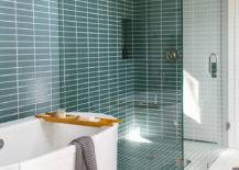 Bathroom with green and white and tub