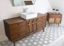 Bathroom with wooden drawers and hexagon tiles