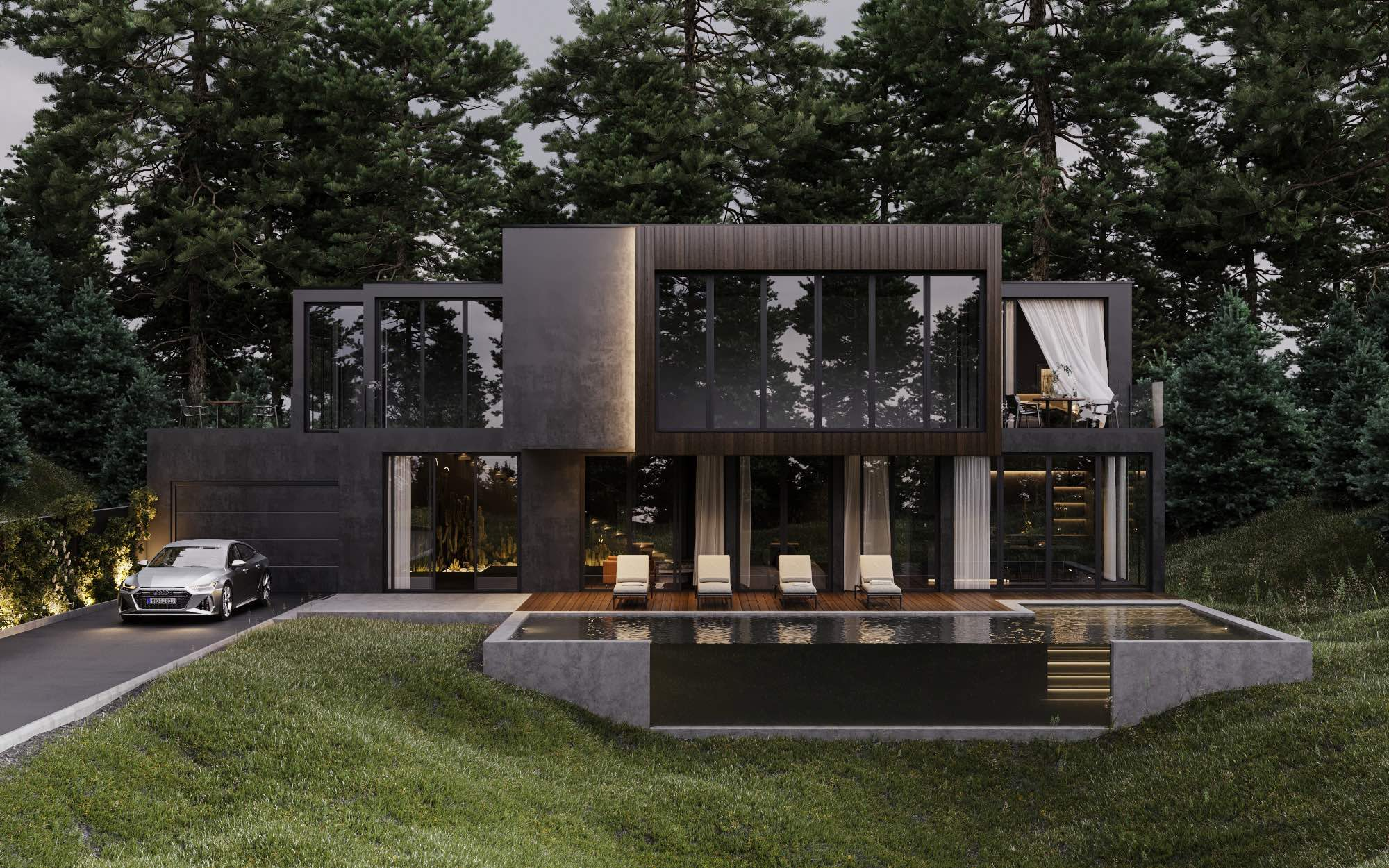Black house in the woods with car and pool