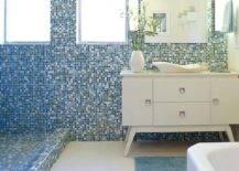 Blue mosaic bathroom wall tiles